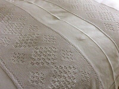 Stunning Antique French Linen Bedcover/large Tablecloth ~ Drawn Thread Work/lace