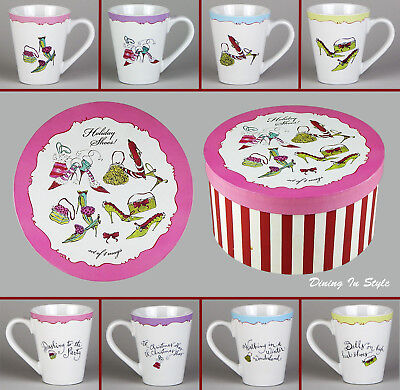 Complete Set of 4 Mugs, MINT UNUSED! Rosanna, Holiday Shoes with Original Box
