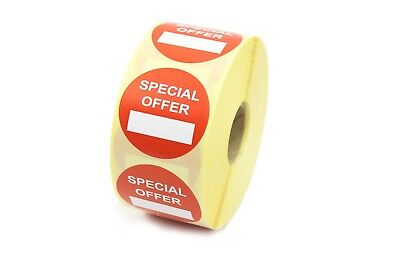 """""""Special Offer"""" Promotional Labels / Stickers 40mm , Red/White 250 500 1k Rolls"""