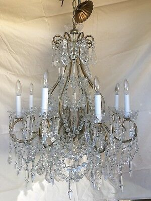 PRIVATE KAT French Italian Crystal Macaroni Beaded Directoire Chandelier 8 Light