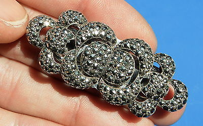 Stunning Art Deco Marcasite Silver Double Dress clips with optional Brooch Frame