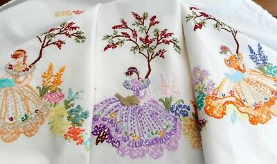 Hand embroidered crinoline ladies, flowers & trees linen tablecloth