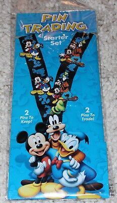 NEW Disney Pin Trading Starter Set - Mickey Mouse and Friends 4-pins & Lanyard