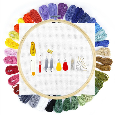 Biging Cross Stitch Kit Embroidery Starter Kit with 26cm Wood Embroidery Hoop, 3