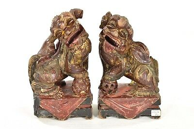 Pair of Antique Chinese Red Gilt Green Wood Carved Statue / Foo Dog Lion, 19th c