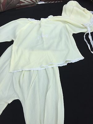 Vintage Baby Pajamas Yellow Footed Bonnet 3 Months