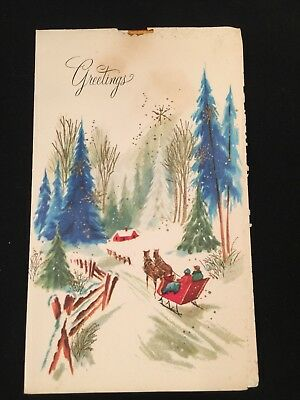 Vintage Christmas Card Sleigh Ride in the Woods Greetings (O)