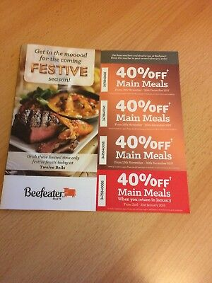 Beefeater Festive Vouchers - 40% off main meals - 13th Nov - 30th Dec (and Janua