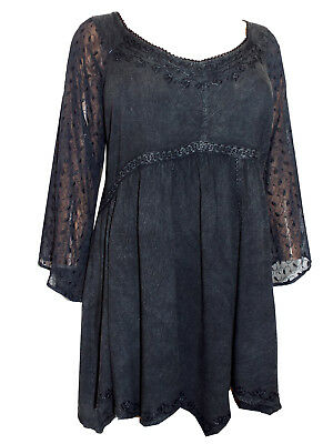 e4b5ecee480 Eaonplus BLACK Empire Renaissance GOTHIC Embroidered Tunic Top Size 18 to 32