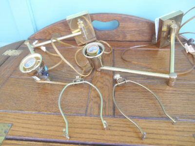Pair of Mid Century Brass Double Swing Arm Sconces Wall Lamps