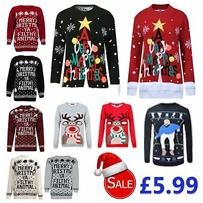 New Mens Vintage Christmas Jumpers Festive Sweaters Novelty Tops Retro Pullovers