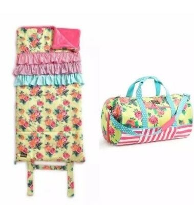 NWT Matilda Jane Coming Up Roses Duffel Bag And Rosy Outlook Sleeping Bag Set