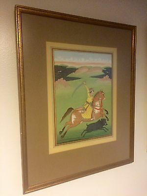 Indian Opaque Watercolor -Prince Hunting Wild Boar -Antique Painting Circa 1800s