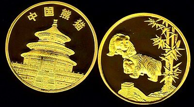 Rare ● Plaquee Or ● Medaille Avec Pandas (Type 1) ● Fdc Unc