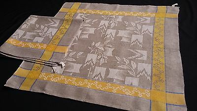2x old unused ecru linen kitchen Towels or rustic napkins with yellow border