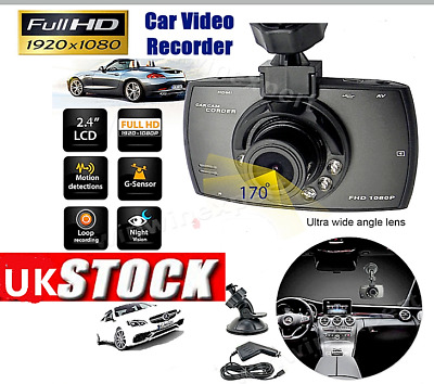 """1080p HD Dash Cam Wide Angle Night Vision Car DVR 2.4"""" LCD Camera With 32GB Card"""
