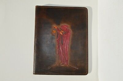 Beautiful Hand Tooled Leather Cover For Notebook/dairy/journal Depicts A Monk