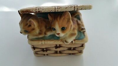 Vintage Cat Trinket Box Two Cute Kittens Theodora for Sigma Ceramic Japan