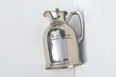 Early 1940S' Grace-New Haven Community Hospital Silver Plated Water Pitcher Rare