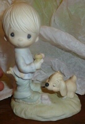 PM Precious Moments E-1374 Boy - PRAISE THE LORD ANYHOW - Boy with Dog