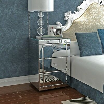 Modern Mirrored Bedside Cabinet/Bedside Table/Chest of 3 Drawers Silver UK