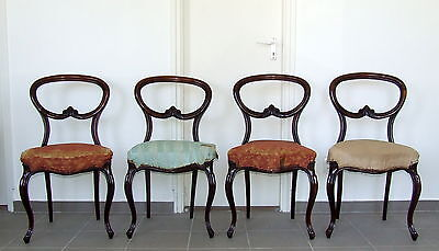 Set of 4 Early Victorian Rosewood Balloon Back Dining Chairs. Regency Georgian.