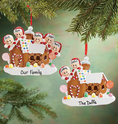 CHRISTMAS GIFT Ornament NAME PERSONALIZED Gingerbread House Family of 2 3 4 5 6