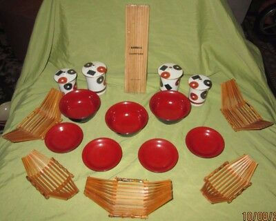 Sushi Set Laquer And Ceramic, Red,white,black,gold,bamboo