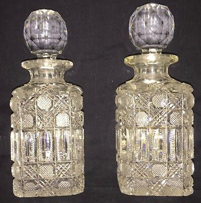 Vintage Decanters Cut Glass  With Glass Stoppers Two From An Estate 5 1/2 In.