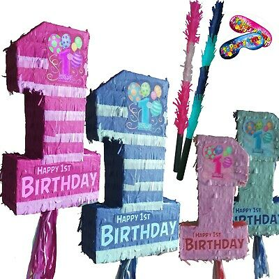 First Birthday Pinata pink blue baby boy girl smash Number One 1 Party 1st year