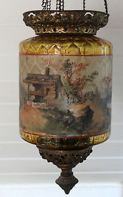 Antique Lamp with Stained Glass before 1900 probably Poschinger, Buchenau