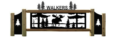 Personalized Moose Sign - Lakes - Streams - Pinetrees - Wildlife Art - Eagles