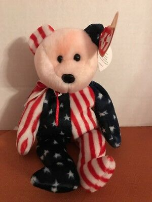 Ty Beanie Baby 1999 SPANGLE the Patriotic Bear - Pink Face EXCELLENT CONDITION
