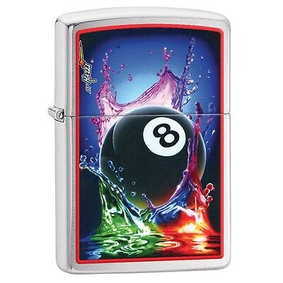 Zippo 29295, Mazzi-Billiards-8 Ball, Brushed Chrome Finish Lighter, Full Size