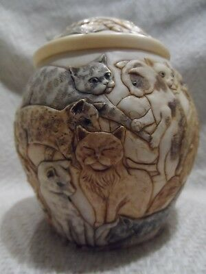 """Cat Fancy"" Crushed Marble Resin Jar w/ lid Jardinia Harmony Ball co."