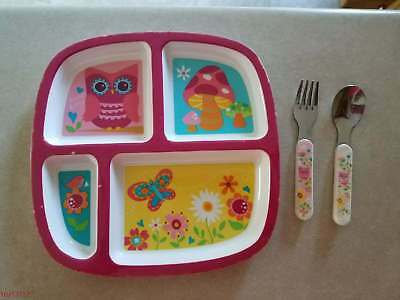 Mainstay Child Toddler Section Plate with Silverware Girl Owl Flower Butterfly