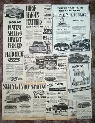 DODGE, CHRYSLER, FORD, WILLYS Nine 1941 Original Newspaper New Car Ads