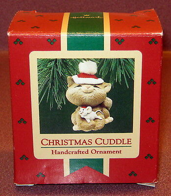 Hallmark Keepsake CHRISTMAS CUDDLE Ornament w Box 1987 PRE-OWNED Cat Mouse Cute!