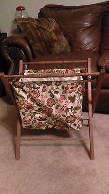 Vintage Wood Frame Folding Knitting/Crochet/Sewing/Craft Tote Basket Stand