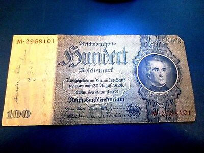 Germany 100 Reichsmark 1935 Swastika (Center of Note) Contemporay Date 2/14/45