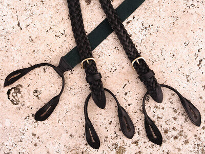 Cole Haan Made in England Braided Leather Suspenders Black