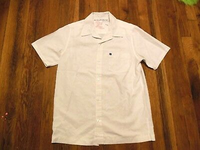 Boys Youth Large Size 14 Quiksilver Short Sleeve Button Down Shirt White Blue