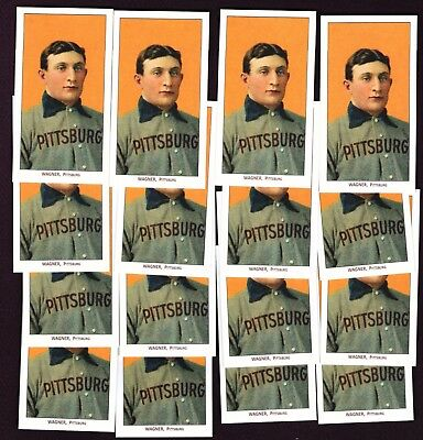 Set of 16 1909 T206 Honus Wagner Reprint cards with 16 variations of backs