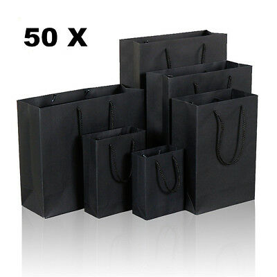 50x Black Kraft Paper Bags Gift Carry Shopping Bags Wedding Party Gift Bags