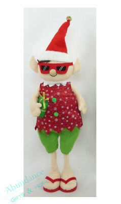 Extendable Red Elf Felt Bodied Standing Aussie Christmas Decoration