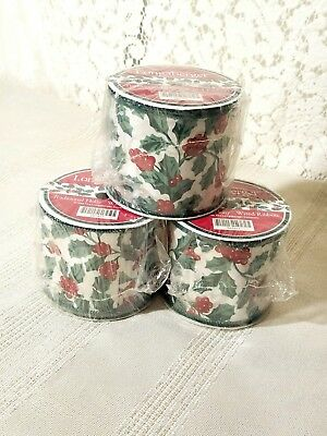 Longaberger Traditional HOLLY wired RIBBON 5 yards New in wrap -Three (3) Rolls