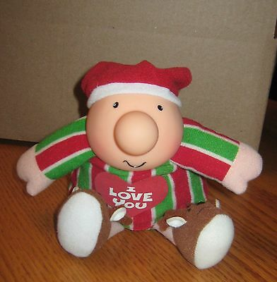 """1991 Ziggy """"I Love You"""" Doll With Reindeer Slippers 7"""" Tall"""