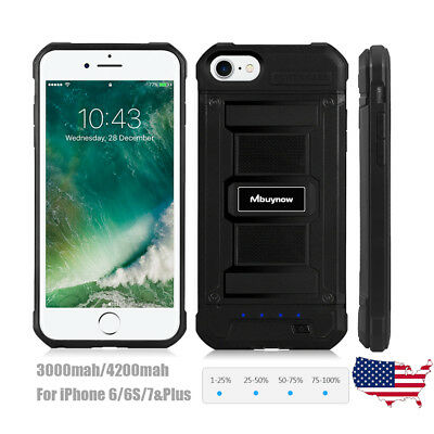 External Battery Charger Cover Shockproof Armor Power Case For iPhone 6/6S/7plus