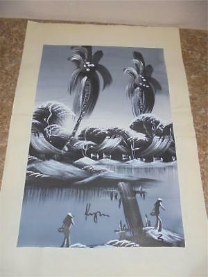 Large Silk Painting Japanese /Chinese (?) Gray  Black Palm Trees