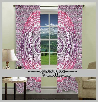 Pink Ombre Mandala Curtains Boho Bohemian Indian Gypsy Window